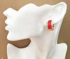 Gorgeous Red Glitter Half Hoop Stud Diamante CLIP ON Earrings *NEW*