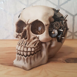 Skull Ornament Steampunk Style Cogs Gears Gothic Decorative Sculpture Figure New