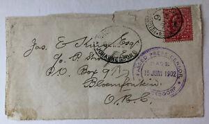 1902 Boer War Stamp on Front Piece KGV 1d Red Johannesburg Censor