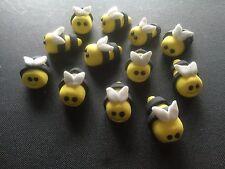 12 x Edible Bees bug Garden Spring bee birthday cupcake cake toppers  2 -2.5cms