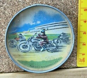 1940s VINTAGE RACING MOTORCYCLE & RIDER TIN TOY GLASS PUZZLE US ZONE GERMANY EXC