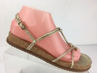 Stuart Weitzman Cork Rope Strappy Slingback Thong Flat Sandals Leather Womens 8M