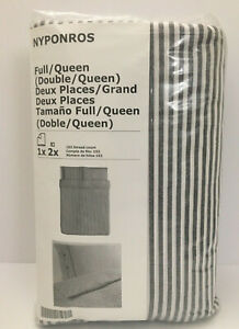 IKEA Nyponros Duvet Cover and Pillowcases Set GRAY Striped King QUEEN Full TWIN