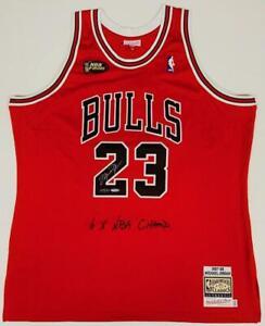 MICHAEL JORDAN Autographed 6x Champ Emb. Authentic Red Jersey UDA LE 123/123
