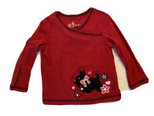 Copper Key Red Dog Terrier Long Sleeve  Cotton Embroidered T-shirt Girl's 2T EUC