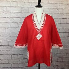 Vintage Top Women 12 Red White Embroidered Kimono Sleeve Boho Hippie