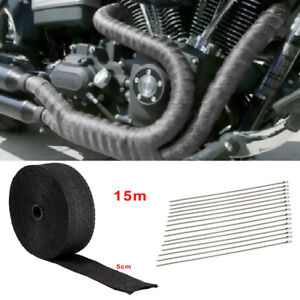 15m Titanium Exhaust Heat Wrap Car Van Motorcycle Manifold Tape With Ties Black