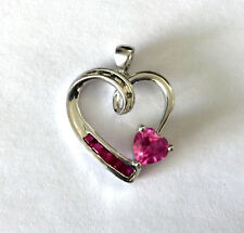 Pink Stone Very Delicate With Love Sun 925 Sterling Silver Heart Pendant Diamond
