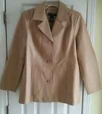 Dialogue women's jacket tan nude 100% genuine leather size Small