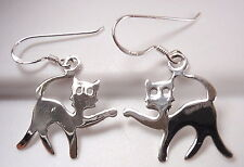 Playful Kitty Cat Earrings 925 Sterling Silver Dangle Corona Sun Jewelry