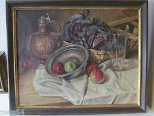Altes Ölgemälde Stillleben mit Apfel Äpfel und Kohl