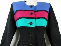 Vtg 80s 90s S.L. PETITES Color Block DRESS Black Coral Pink Blue Green Size 10