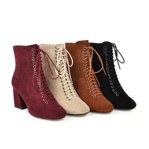 Women Suede Ankle Boots Lace Up Zipper Block Heels Square Toe Fashion Shoes Plus