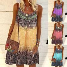 Summer Women Floral Print Strappy Dress Ladies Beach Boho Cami Tunic Sun Dresses