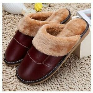 Home Indoor Slippers For Men Fur Leather Winter Warm Soft Footwear Comfy Shoes