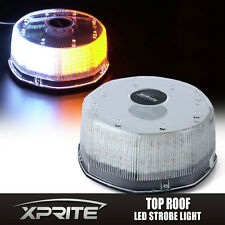 240 LED Flash Strobe Rotating Round Beacon Rooftop Emergency Light AMBER WHITE