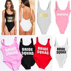 Ladies BRIDE SQUAD Swimsuit Bridesmaid Swimsuit Bathing Costume Hen Party