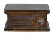 Chinese Crested Dog - Urn for dog's ashes with relief and sentence, low model IE