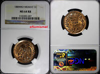 Mexico Copper 1889 Mo 1 Centavo NGC MS64 RB Nice Original RED Toning KM# 391.6