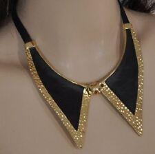 Collier Kette Kragen SCHWARZ gold -farbig Halskette Choker Schmuck Lederband