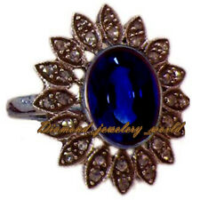 Diamond Sapphire Studded Silver Ring Jewelry Antique Finish 2.01ct Pave Rose Cut