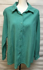 Appleseed's Women's Teal Green Turquoise Vintage Shirt Long Sleeve Size 1X Top