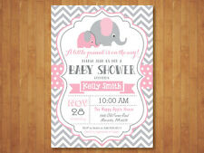 Elephant Baby Shower Invitation. Girl. Pink and Gray Chevron. Printable Digital.