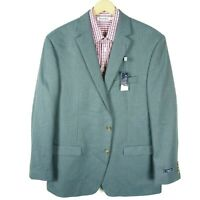 Chaps Mens Blazer Jacket Sport Coat 48L Long Blue Grey Houndstooth Polyester