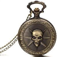 Hot Steampunk Punk Bronze Star Skull Quartz Pocket Watch Pendant Chain Necklace