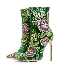 Womens Luxury Satin Embroidered Floral Ankle Boots High Heels Pointy Toe Pumps