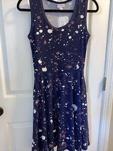 WOMENS FLAIR TANK DRESS LULAROE NICKI-POLY SPANDEX BLUE PAINT SIZE XS SMALL NWT