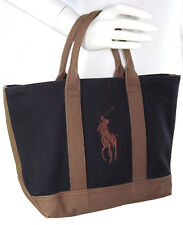 Vintage Ralph Lauren Small Canvas Handbag Tote w/Logo Navy Blue & Khaki Brown