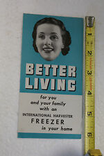 Vintage RARE IH International Harvester Freezer Advertisement Flyer