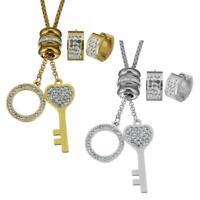 Fashion Women Stainless Steel Rhinestone Heart Key Earring Necklace Jewelry Sets