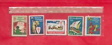 5 Vintage Unused Christmas Seals 1 Each From 1923, 1924, 1927, 1928, & 1929