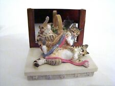 Giftcraft Sue Wall's Cats Tie A Ribbon Two Orange & Black Cats Playing