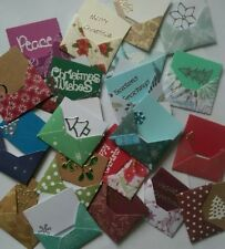 Set of 10 mini envelopes 3x4cm - pot luck Christmas mix - decorated inserts