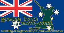 PHILLIP HUGHES R.I.P GONE BUT NOT OUT STICKER BAGGY GREEN 408 CRICKET STICKER