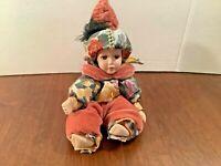 """Porcelain Pierrot Jester Clown Doll Turban Hat Orange Velvet Multicolor 11"""""""