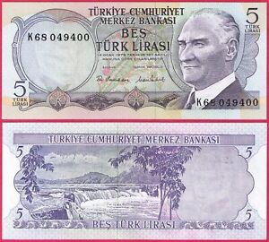 TURKEY 5 LIRA 1970 P185 BANKNOTE UNC