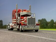 "1/64 DCP RED/WHITE PETERBILT 389 W/ 70"" MID ROOF SLEEPER"