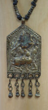 Hindu Warrior on Horse Metal Amulet