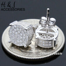 MEN 925 STERLING SILVER 8MM LAB DIAMOND ICED ROUND PUSH BACK STUD EARRING*AE120