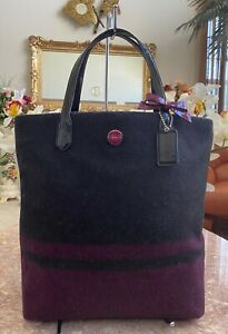 New Coach Charcoal Berry Purple Stripe Wool N/S Tote Bag 24665, MSRP $298
