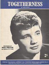 Togetherness - Mike Preston - 1960 Sheet Music