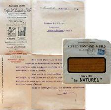 Enveloppe courrier 1924 Alfred Rostand Savonnerie Naturel Marseille savon huile