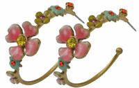 NEW PILGRIM GOLD HOOP EARRINGS PINK YELLOW RED CRYSTALS ENAMEL DAISY FLOWERS RR