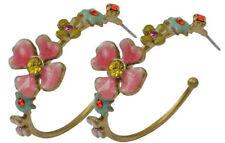NEW PILGRIM GOLD PLATED HOOP EARRINGS SWAROVSKI CRYSTALS ENAMEL DELICATE FLOWERS