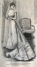 French MODE ILLUSTREE SEWING PATTERN August 14,1898 BRIDE DRESS