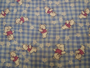 Children's Check Polycotton Fabric 44ins wide Check with Pooh Teddy bears